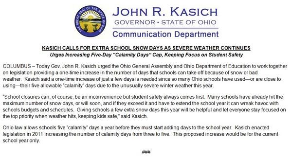 "Student safety comes 1st so I've called for raising the max no. of ""snow days"" this year so schools can better cope. http://t.co/9PEeDnR1nf"