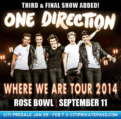@onedirection has added a 3rd & FINAL show at the #RoseBowl on Sep 11!  Get tix Sat Feb 8: http://t.co/FvYszuaCLr http://t.co/Mk9hgnDweE