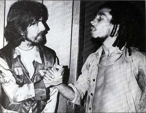 @ClassicPixs: George Harrison and Bob Marley on July 13, 1975, backstage at the Roxy Theatre in Los Angeles, Cali http://t.co/y6yjG9COFV""