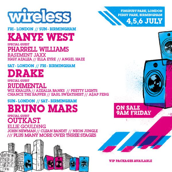 .@kanyewest. @Drake. @BrunoMars. @Outkast. @Pharrell. @RudimentalUk + loads more! #Wireless 2014 is coming! http://t.co/ODmk4FLEvE