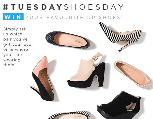 Dorothy Perkins (@Dorothy_Perkins): #TuesdayShoesday is here! We're giving you the chance to #win your favourite pair of DP shoes every single Tuesday! x http://t.co/ELP0paQbeV