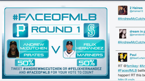 Rally. RT @Pirates: RETWEET this...Retweet EVERYTHING #AndrewMcCutchen #FaceofMLB!  Because He's The Cutch! http://t.co/LgmC00xNLg