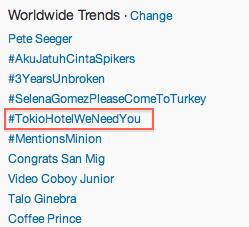 #TokioHotelWeNeedYou is currently TT WORLDWIDE! @tokiohotel :D http://t.co/CUakdtQHb4