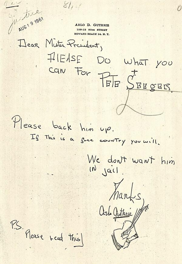 Very cool: Arlo Guthrie asks JFK to help Peter Seeger who was facing trial for Congressional contempt via @JFKLibrary http://t.co/O1iwbtdYu8