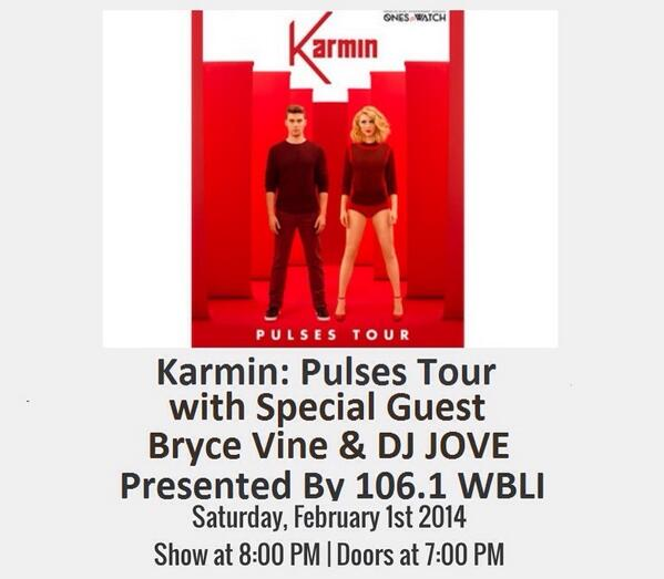 I will rocking the @karminmusic #pulsestour stop at @TheParamountNY on Feb 1st Presented By: @1061BLI! @brycevine http://t.co/KNk8kbrMyM