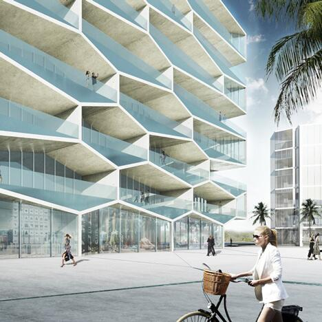 RT @Cultured_Mag: @BjarkeIngels designed a honeycomb inspired apartment block in the Bahamas where each balcony has its own pool. #BIG http://t.co/CP8hSTocdG
