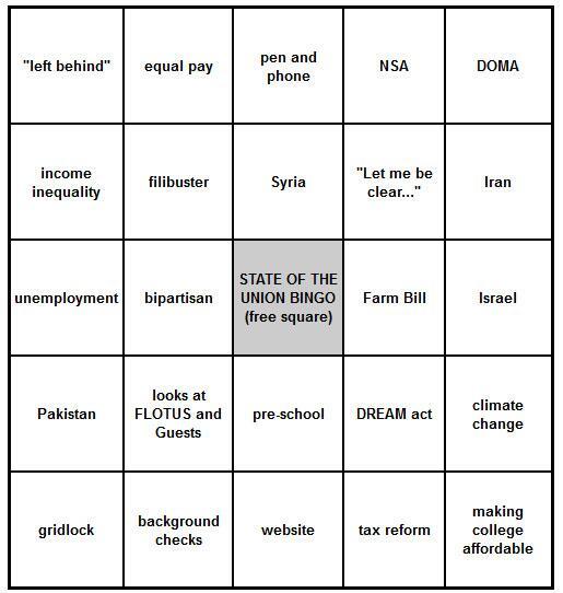Okay. Here's my #SOTU Bingo Card. http://t.co/FsQ6UCFWo5