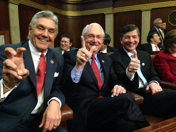 Representing 3 of TX's finest schools at #SOTU. Give Em Hell, Wreck Em and Gig Em! @RepRWilliams and @RepHensarling http://t.co/XIqlezxKtM