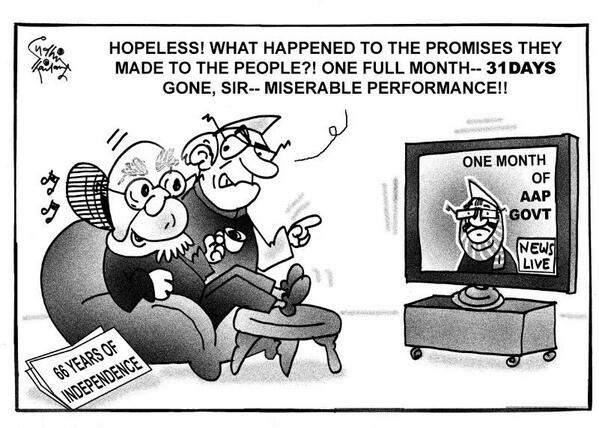 ONE month of #AAP govt !! @ArvindKejriwal  cartoon by #SudhirTailang http://t.co/PBmJLBgv7M
