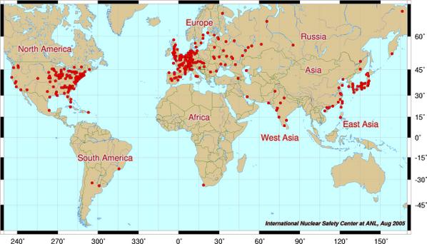 ウズベキア世界の原子力発電所マップ。 http://t.co/vyKUApT3bf