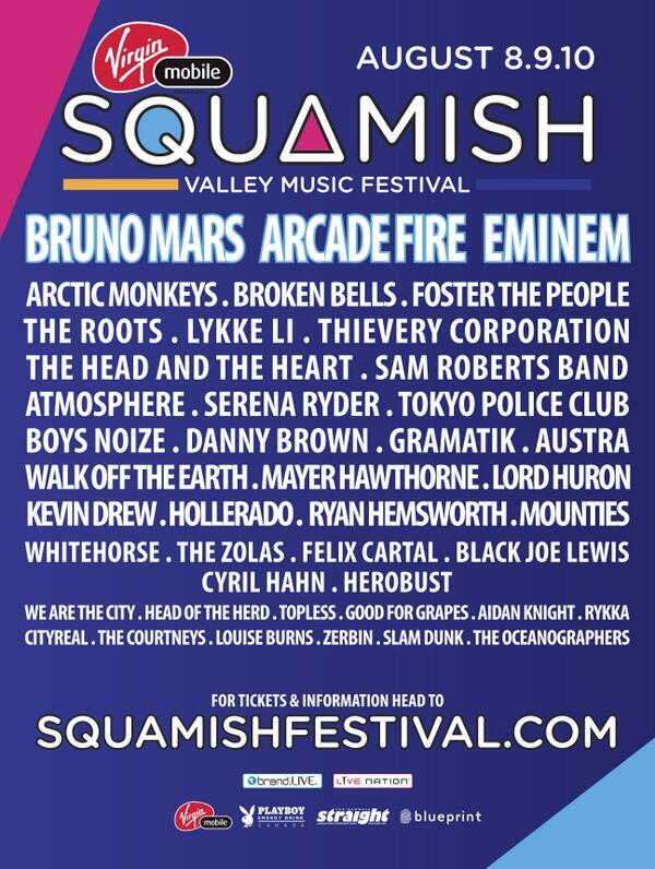 "70 Artists and not even one ""meh"" on this list. I'm crying! Win tickets to @squamishfest at @thepeak! #vmsquamish http://t.co/92YuMOvBOX"
