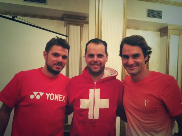 Proof in the picture. RT @stanwawrinka: Look who I found in Novi Sad ... @rogerfederer and Captain Severino! http://t.co/kmL3WiZWtV