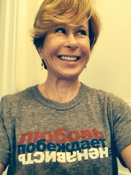 """Hey Russia! Read my shirt: """"#LoveConquersHate."""" U know I'm right!"""