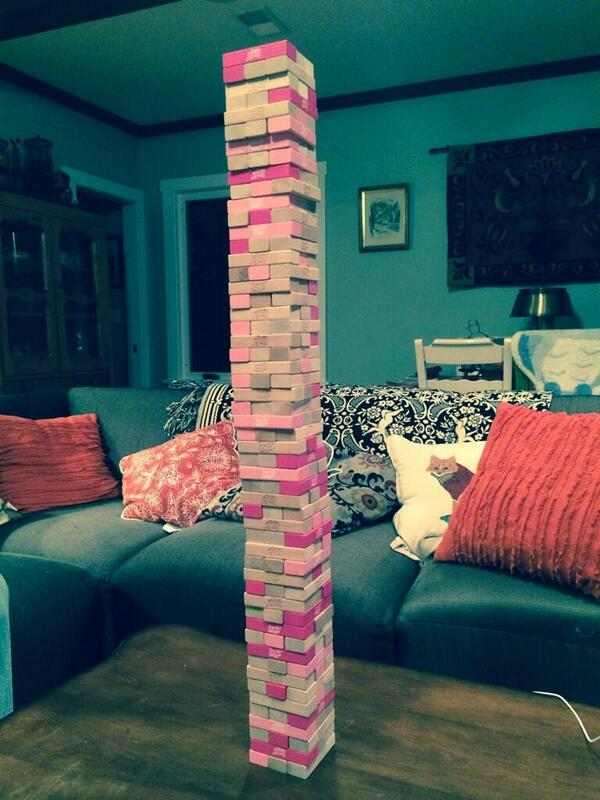 When one set of #Jenga is just not enough! Can you guess the number of blocks here? (photo via @BrenisTheMenace) http://t.co/ZqXpQuwXCc