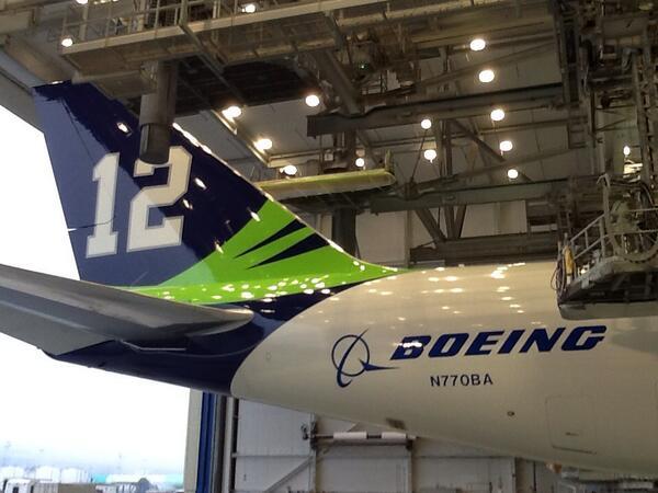 The power of 12. @Seahawks 747-8. #GoHawks #SB48 #Boeing