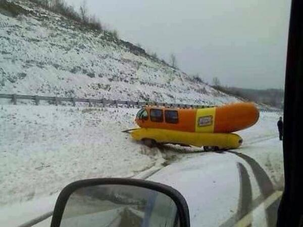 """24 feet long. Awful suspension. Stock tires. Poor center of gravity. It's snowing. Ok, let's roll! http://t.co/GBmFDBfhq8"