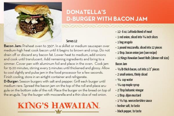 Countdown to Sunday with this @donatellaarpaia #gameday recipe - D-Burger with Bacon Jam http://t.co/7fqe42t3F5