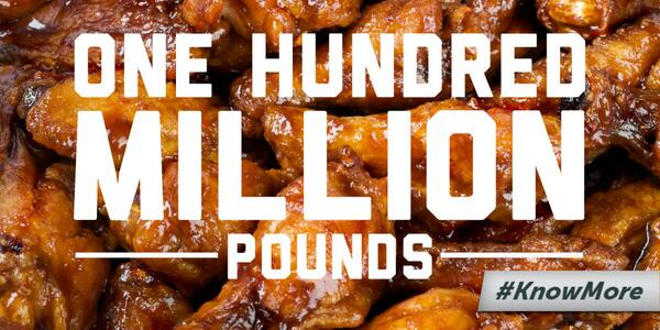 Approximately 100 million pounds of chicken wings will be consumed on #SuperBowl Sunday #KnowMore http://t.co/lwxEFdIN2x