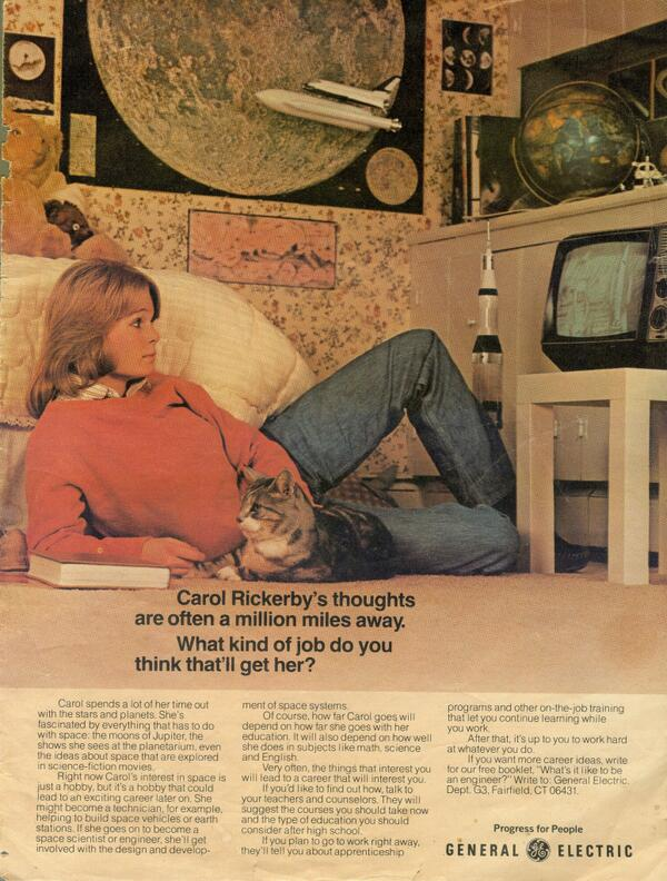 ICYMI: Found this awesome 1970s ad from GE promoting #STEM for high school girls (and boys too). http://t.co/NA6yfqQKGN #kitteh