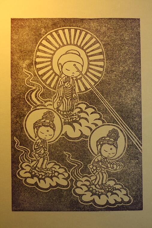 阿弥陀三尊来迎図 #消しゴムはんこ http://t.co/MqKQHoezcw