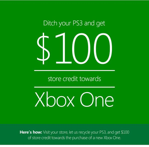 """I got this email from @MicrosoftStore: """"Ditch your #PS3 and get $100 store credit towards #XboxOne"""" http://t.co/u3EbAJtloD"""