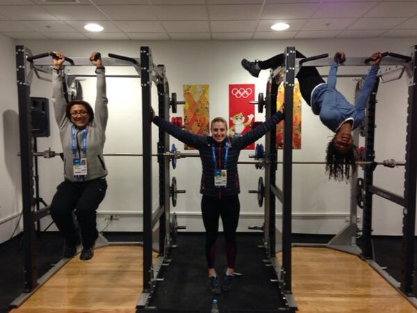 We made it to @Sochi2014 and like all dedicated athletes me @JamieGreubel  and @eamslider24 went straight for the gym http://t.co/LE1X3SviKQ
