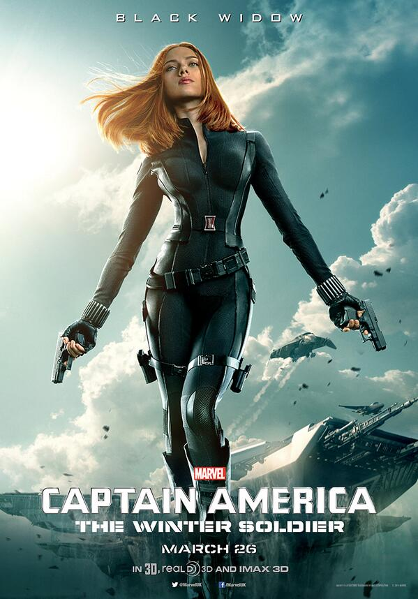 LOL @ the 6 inches they pointlessly shaved off Black Widow's waistline/ribcage in the new Captain America poster. http://t.co/Meufg3cDfW