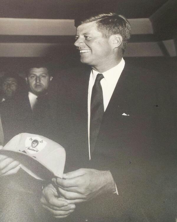 Wait, what? #JFK was a member of the #RaiderNation? Pictured him more a Boston #Patriots guy, or somesuch. #Raiders http://t.co/lUkfprloj2