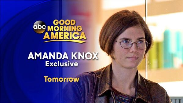 Tomorrow on @GMA: Amanda Knox speaks out exclusively to @RobinRoberts: http://t.co/SiY5cDUOep  http://t.co/OCDHGOaKeD