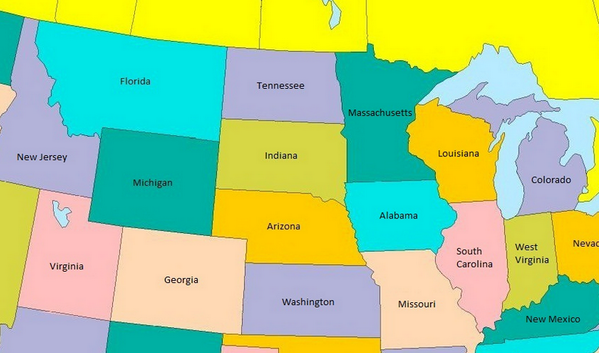 Map What The Us Would Look Like If State Size Matched - Us map state size by population