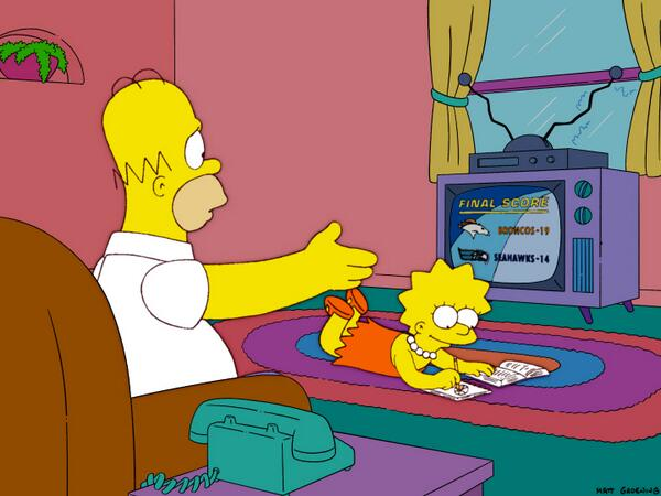 Illuminati RT @darrenrovell: Let's see if a 2005 episode of @TheSimpsons gets the final score right http://t.co/R60xQ9OXiJ (via @BarofGold)