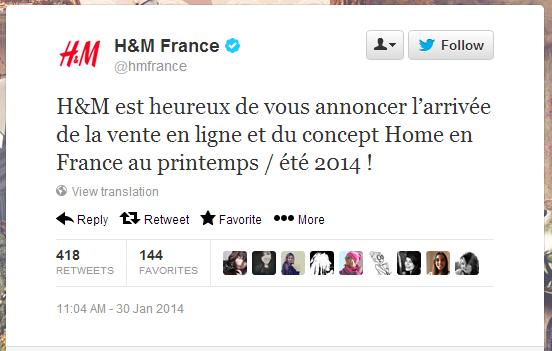 """H&M va enfin ouvrir un site marchand en France"" #ecommerce #Shopping // http://t.co/wLYnPtZUoh http://t.co/o0VWyrZH0r"