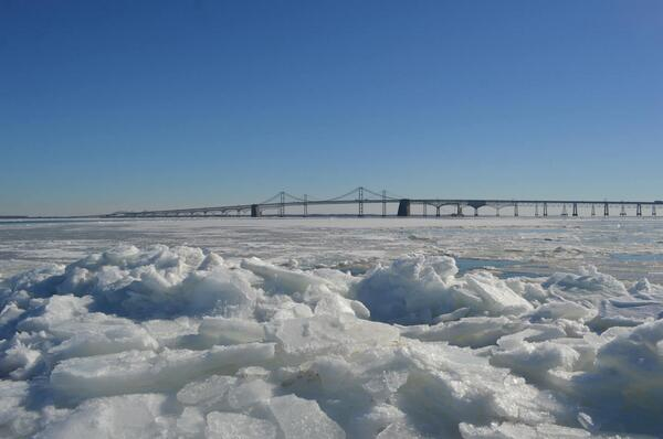 Amazing shot of the ice that has developed on the Chesapeake Bay at Sandy Point! Photo courtesy of Jim Schuyler. http://t.co/Zs6A6OZpep