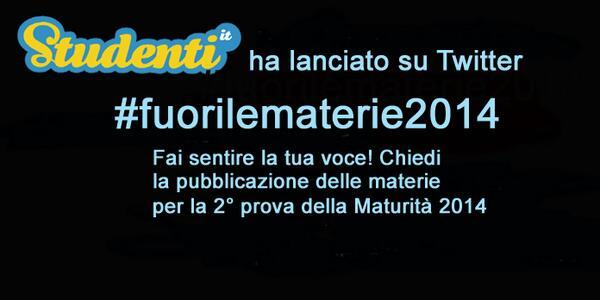 #fuorilematerie2014 fai sentire la tua voce!Chiediamo la pubblicazione delle materie per la 2° prova della #Maturita http://t.co/Q209mJB3P5