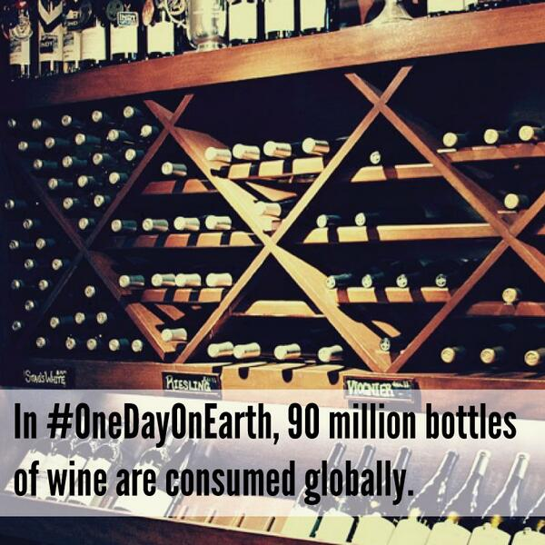 In #OneDayOnEarth, 90 million bottles of wine are consumed globally. #TGIF http://t.co/69WnqWzlE4