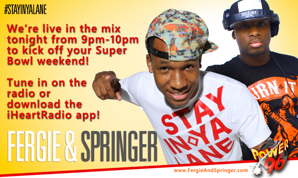 Tune in to @Mydjfergie x @IAmDjSpringer live in the mix on @Power965 tonight from 9pm to 10pm!  #Power96 http://t.co/0axTFVCSsf