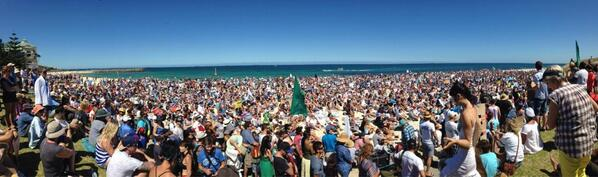 This looks rather big @themoceanvibe: Photos starting to emerge from the #noWAsharkcull protest Cott  beach. http://t.co/7R7fOQndYp""