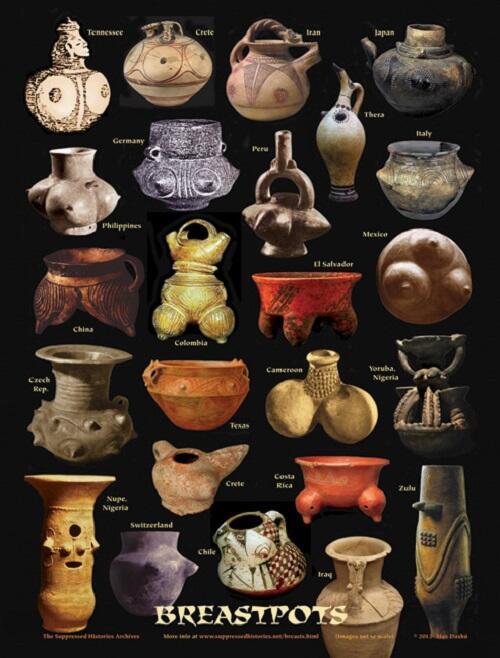 @bigakukenkyujo 女性の乳房がかたどられた古代の器コレクション。おそらく赤子を育む母乳の生命力にあやかり、液体を容れる壺・鉢・甕などが選ばれたのだろう。それが世界共通なのが興味深い。ただカメルーンだけ何か違う気がする… http://t.co/slgJoKKboy