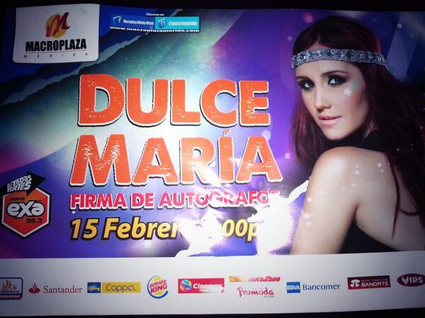 Y también tome un volante *.* ya falta poco! 15 de Febrero 2:00 pm Firma de autógrafos de @DulceMaria en @Macromerida http://t.co/gsPa33bD0b