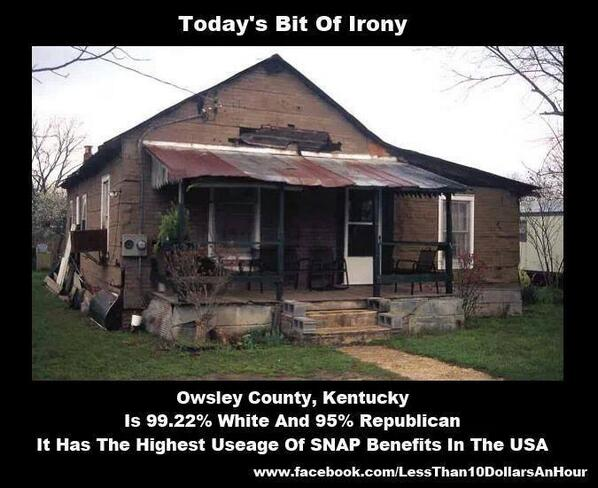 """@gnuman1979 http://t.co/nv11HSPh2Z And they will _all_ blame """"lazy blacks"""" for abusing SNAP, and they will vote Republican again, and again"""
