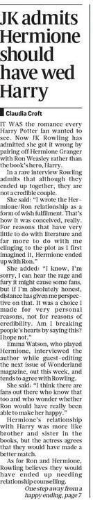 In the quotes from JKR here she doesn't explicitly say she would have preferred H/H, just that R/H lacks credibility http://t.co/LEhTVYivRl