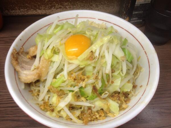 関内二郎 小ラーメン汁なしニンニクヤサイ 初めて食べたけどめっちゃ美味かった!噂通り! http://t.co/ohFQB9kzyE