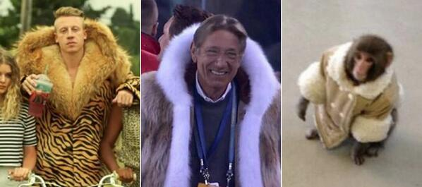 THIS RT @HuffPostCaStyle: OK, who wore it better: Macklemore, Joe Namath or the IKEA monkey? #SB48 #SuperBowl http://t.co/pD2RQDFOsb