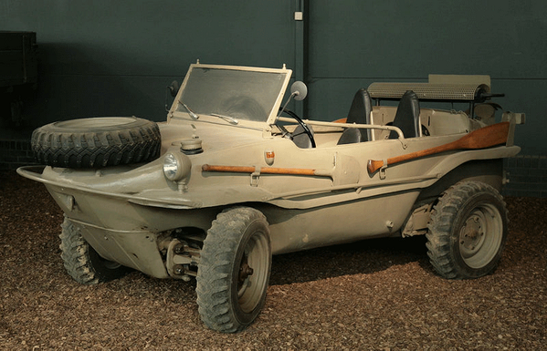 "Volkswagen produced an amphibious vehicle called the ""Schwimmwagen"" during WWII. http://t.co/loBKYqvHBf"