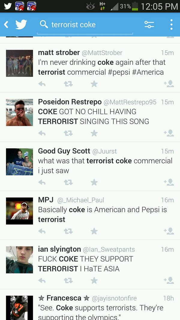 Coca Cola runs this Super Bowl ad: http://t.co/BnrJ43HTEb  Reaction: http://t.co/TZjz3hL3FU   Guys, we won.