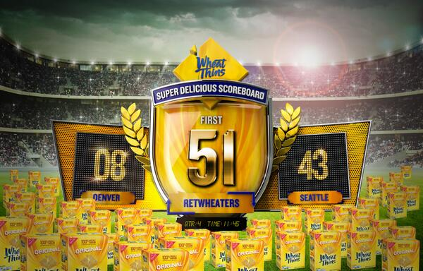 Touchdown! 8-43. First 51 people to RT this could each win 7 boxes of Wheat Thins. #MustHaveWheatThins http://t.co/uxzjd53b4H
