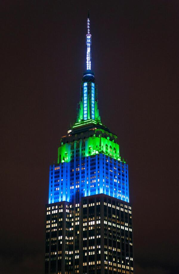 In honor of the #SB48 champions, the @Seahawks, our lights will shine in blue & green until sunrise. #SuperBowl #SB48 http://t.co/1mhtBSMlIb