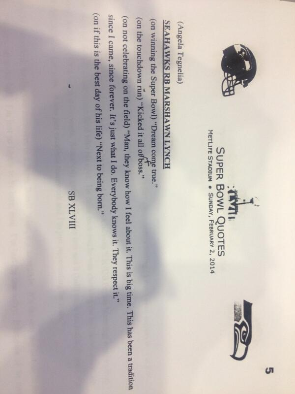 Marshawn Lynch's post game transcript... http://t.co/KfmWwcPANR