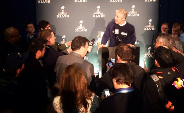 """Carroll: """"The @gatorade shower is a miserable experience that you love to have happen."""" #SuperBowlChamps"""
