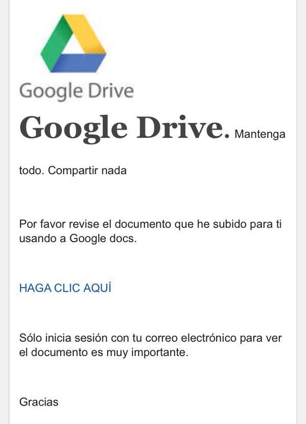 """OJO: no hagan clic en ningún mensaje que les llegue con el asunto """"tienes un nuevo Google doc…"""" http://t.co/gpD6ZbzF8b"""